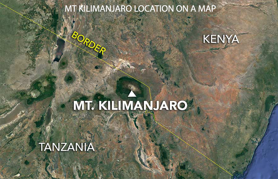 Kilimanjaro location on a map