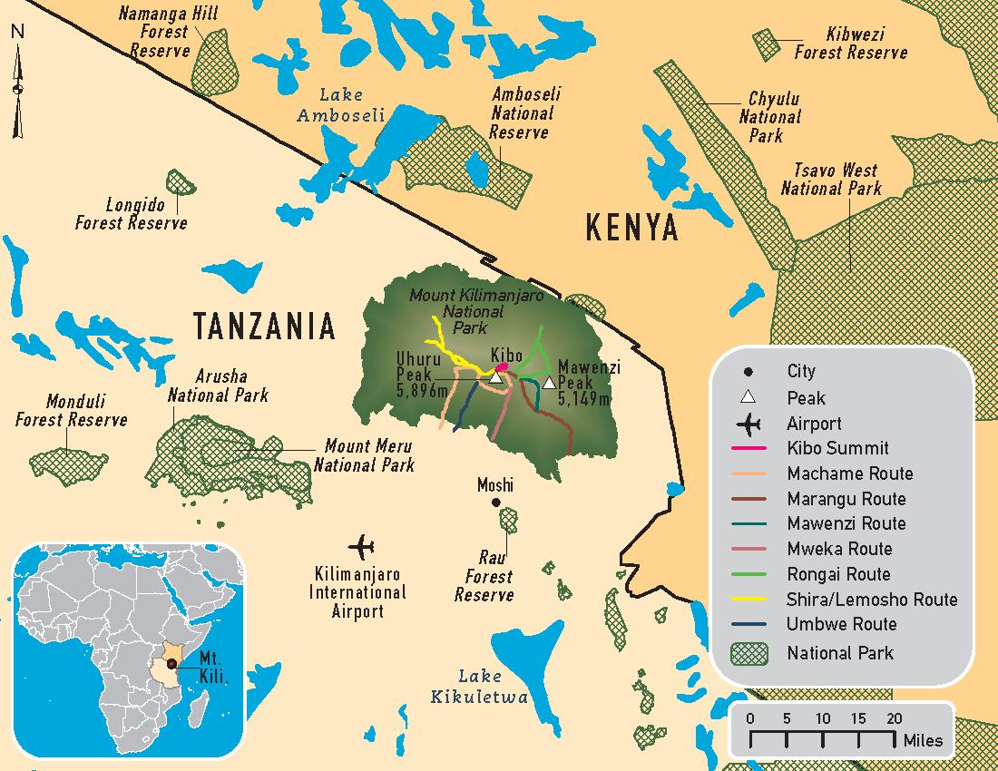 Kilimanjaro map